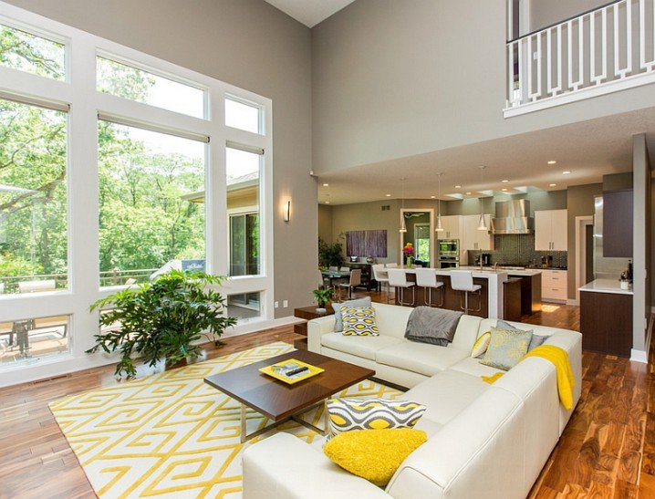 VIEW IN GALLERY Grey And Yellow Living Room Theme With White Sectional Sofa  Sets