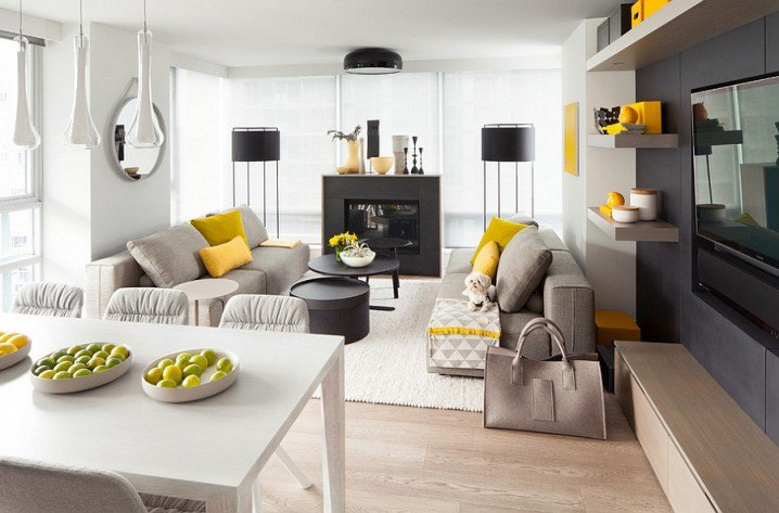 VIEW IN GALLERY Grey And Yellow Living Room With Black Cabinets