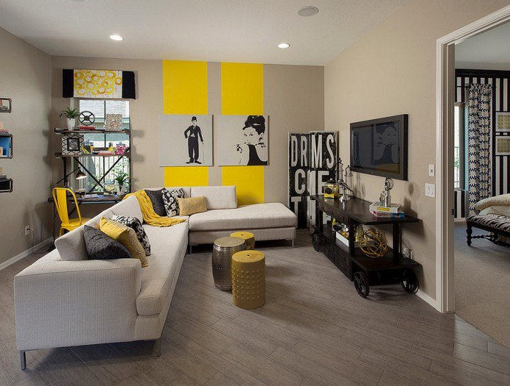 VIEW IN GALLERY Modern Grey And Yellow Living Room Design Ideas With  Creative Wall Art