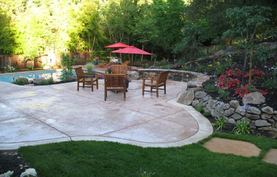 backyard stamped concrete patterns design ideas with ashlar stamped concrete patterns around pool and wood patio furniture