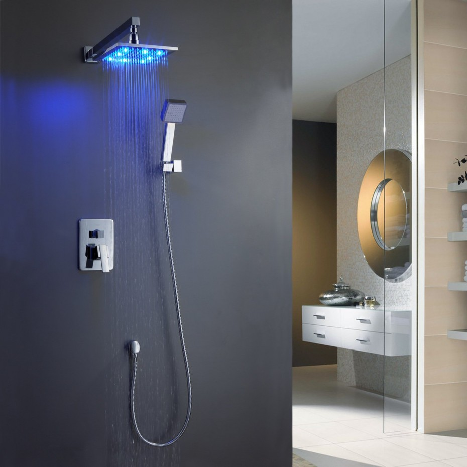 Bathroom rain showers - View In Gallery Bathroom Shower Tile Ideas Luxury Overhead Wall Mounted Waterfall Rain Shower Heads With Led Vanity Lighting
