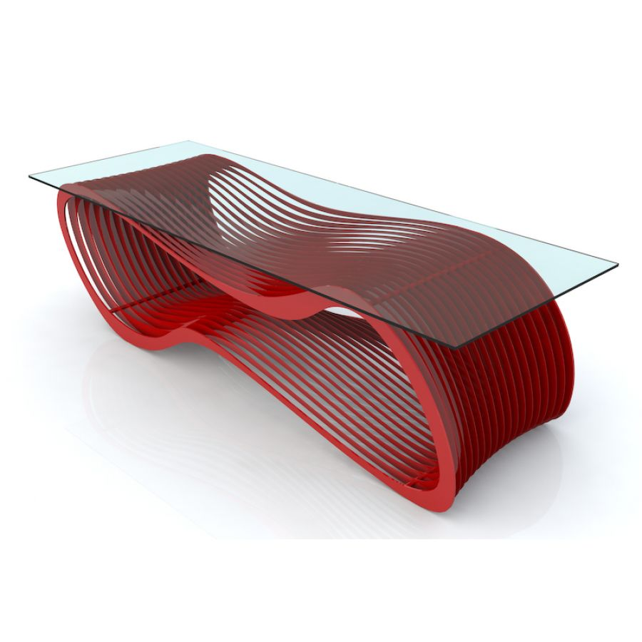 cozy glass top coffee table design ideas with red footer for contemporary living room
