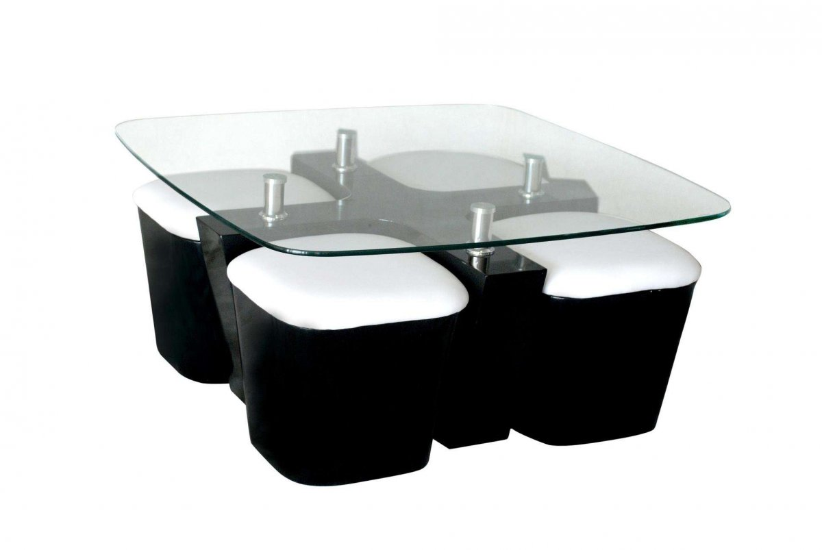 18 awesome coffee tables design with unique features for Black and white glass coffee table