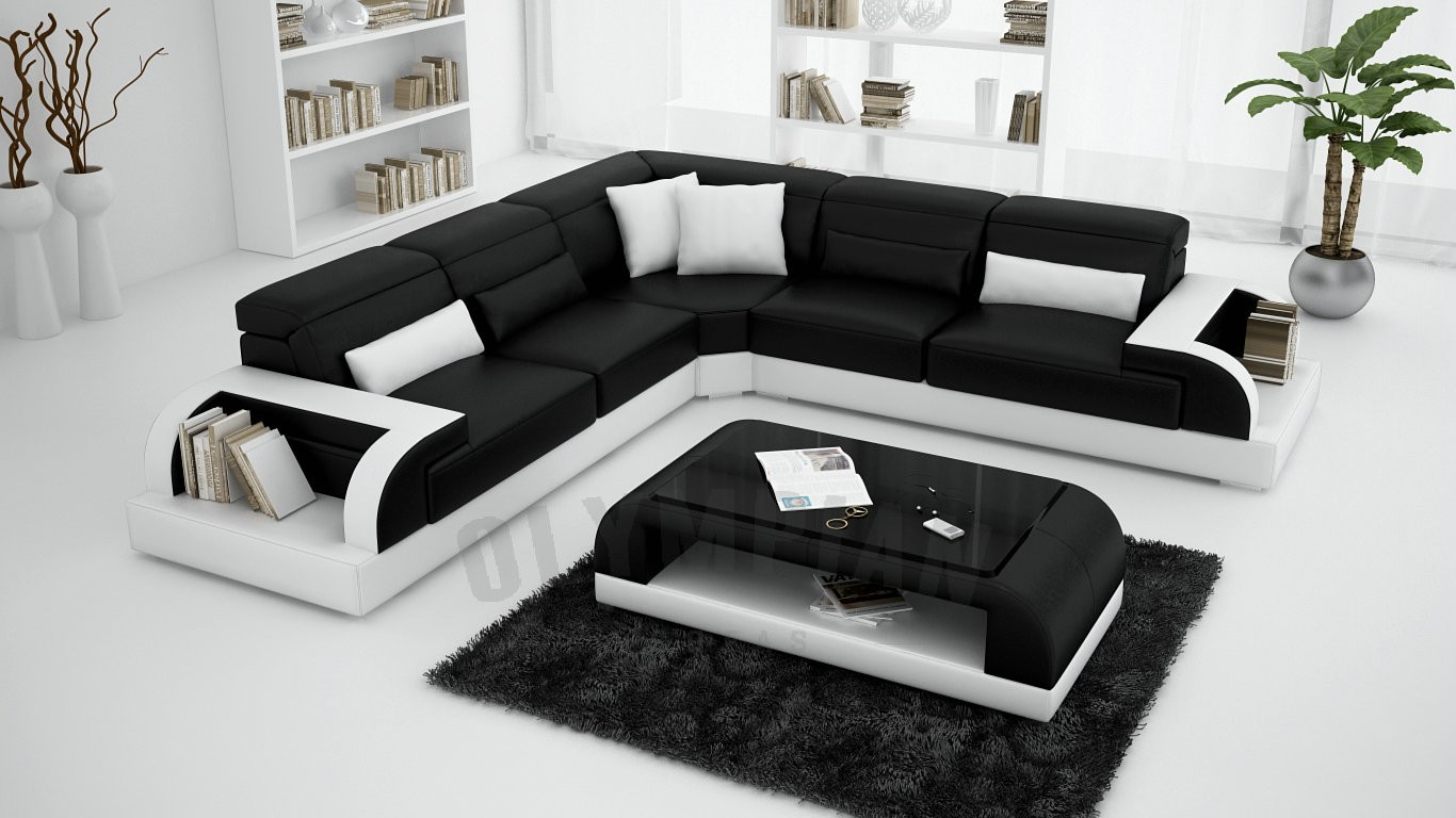 VIEW IN GALLERY Black Corner Sofa Set With Luxury Coffee Table