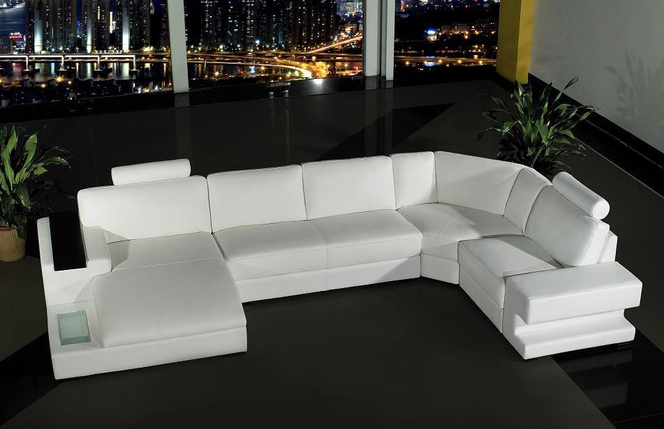 Contemporary White Leather Sectional Sofa Bed
