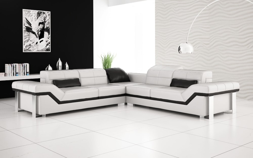 VIEW IN GALLERY Cool Luxury White Leather Sofa Set
