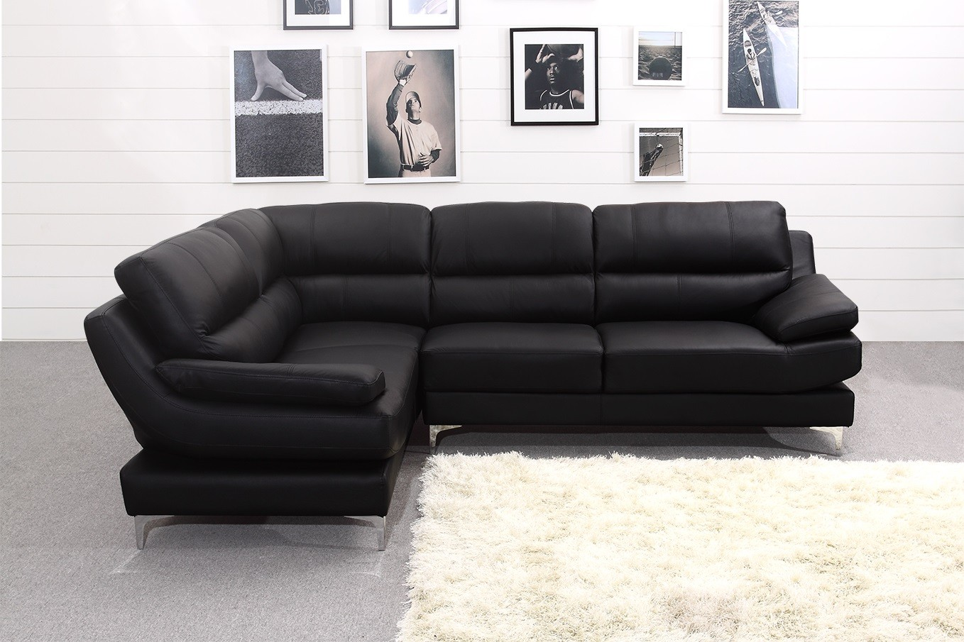 10 luxury leather sofa set designs that will make you for Black corner sofa