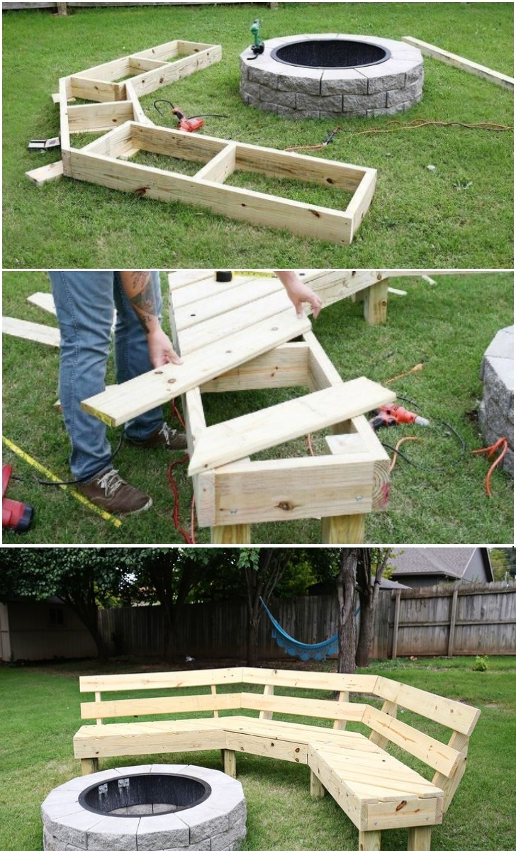 Diy Curved Fire Pit Bench awesome step