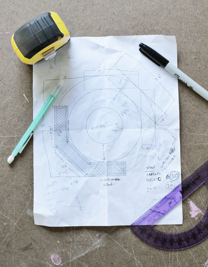 Diy Curved Fire Pit Bench drawing plan