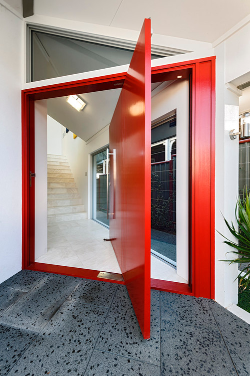 Futuristic red front entry ways