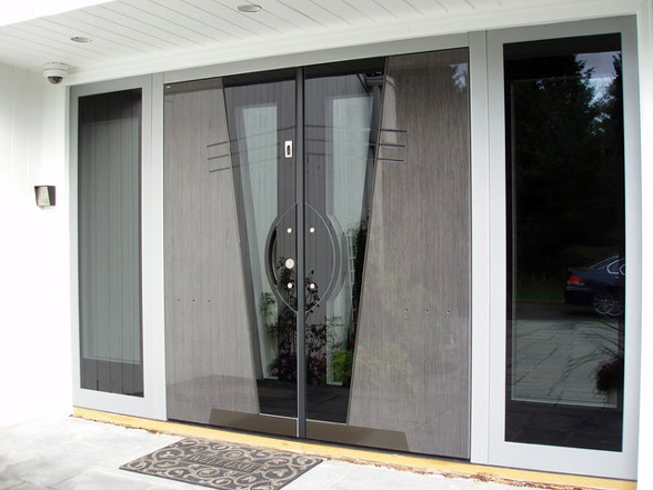 contemporary wooden front doors with glass