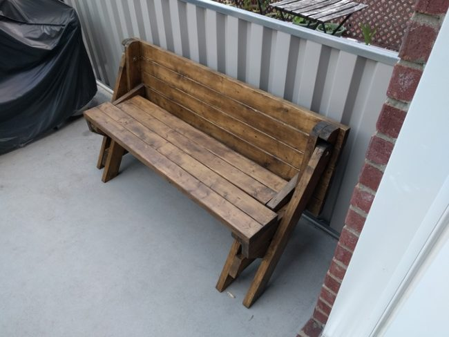 diy folding bench after finishing