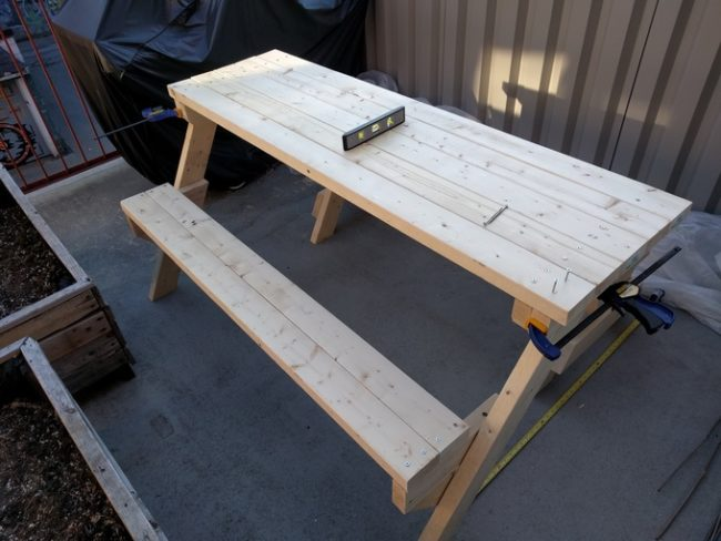 diy folding bench before finishing