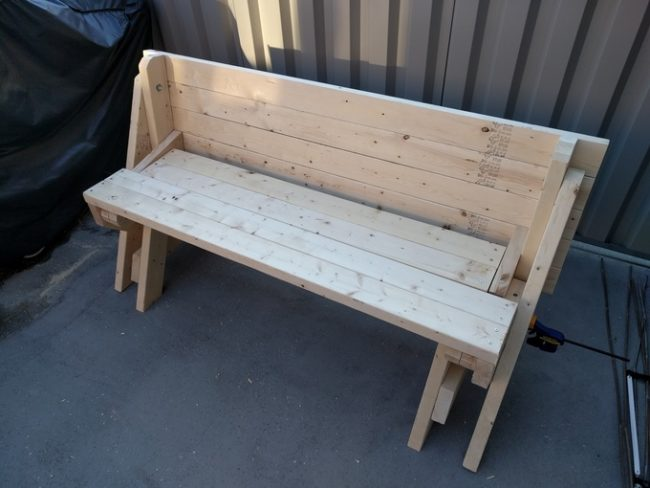 diy folding bench project done 1