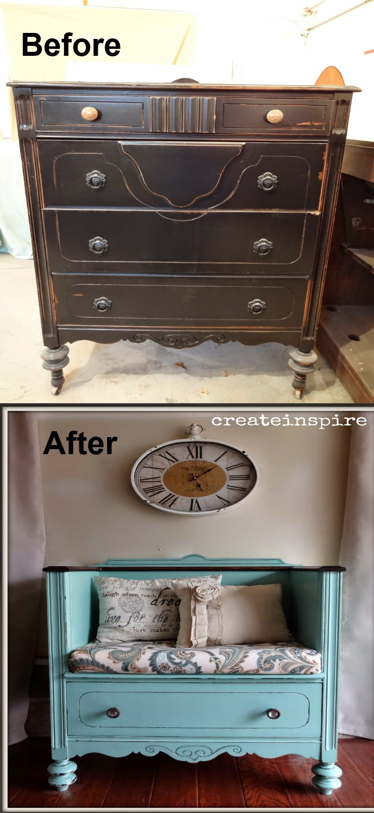 diy bench from old dresser