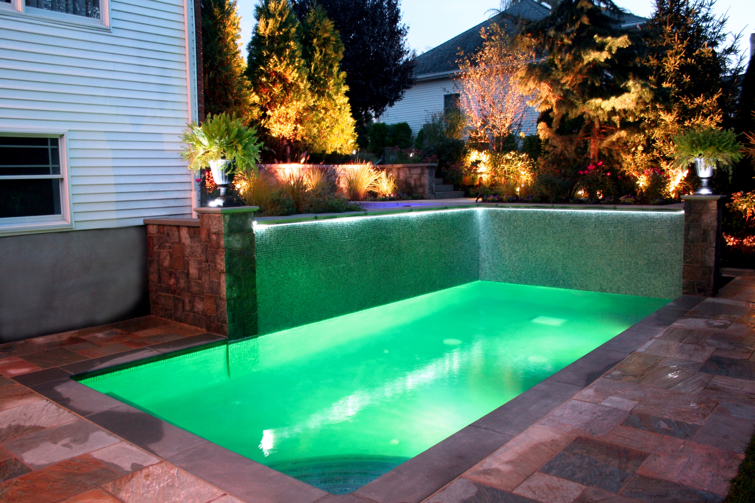 Small Backyard Landscaping Ideas With In Ground Pool And Nice Lighting Ideas