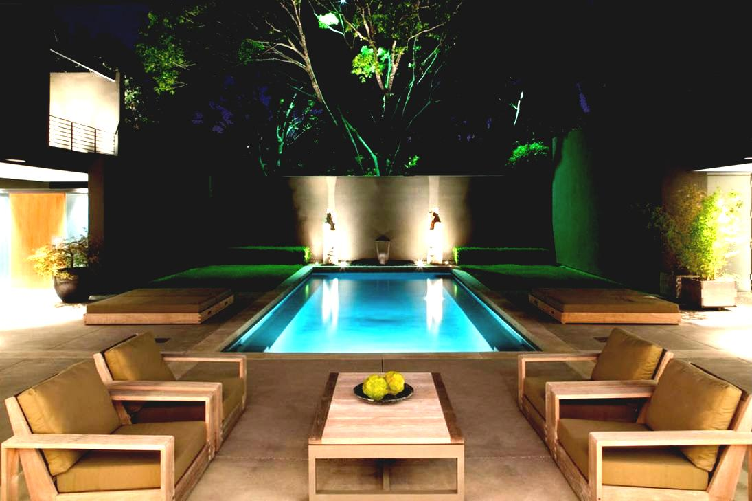 With Outdoor Patio Chair And Charming Pool Lighting