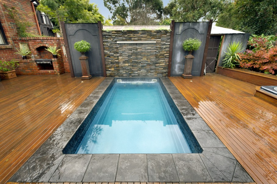 VIEW IN GALLERY Small Inground Swimming Pools In Backyard With Special  Build Wood Floor Around It