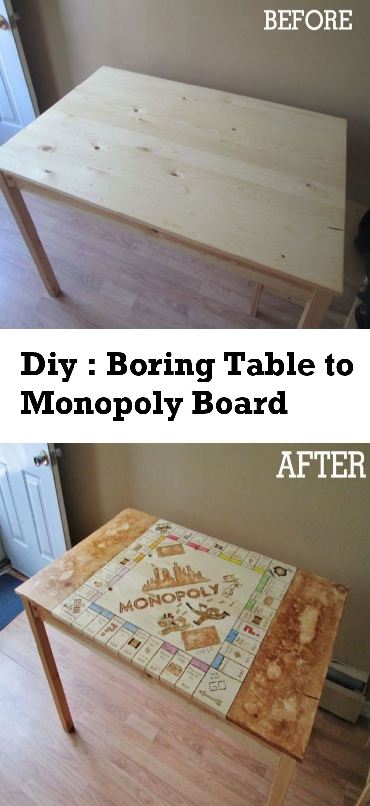 diy boring table to monopoly board