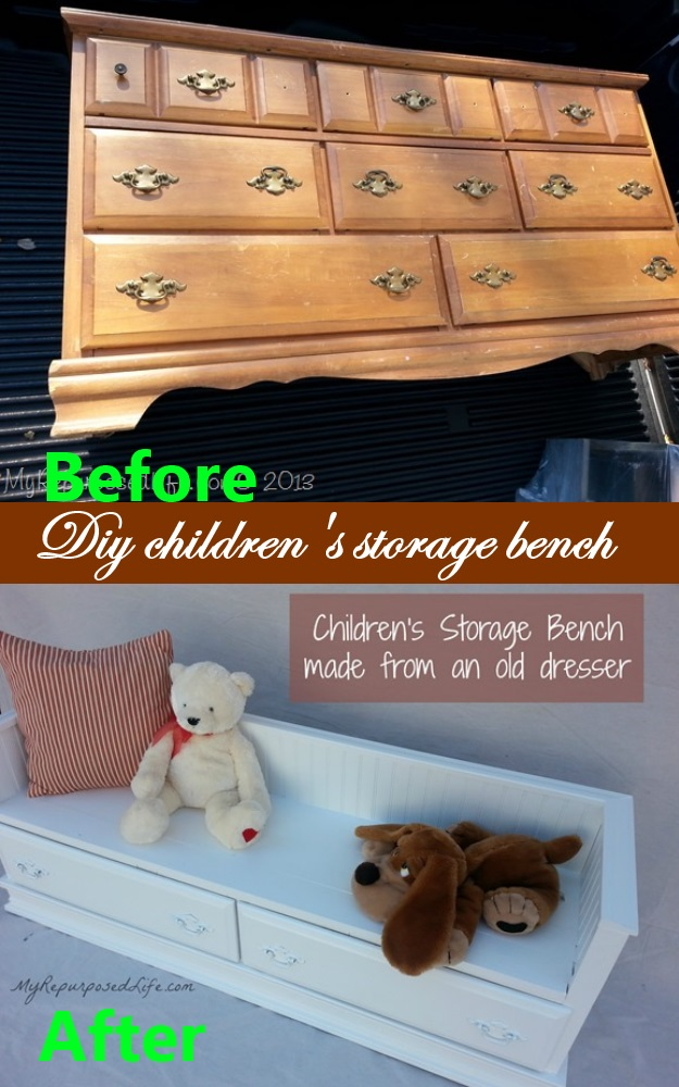 diy childrens storage bench old after