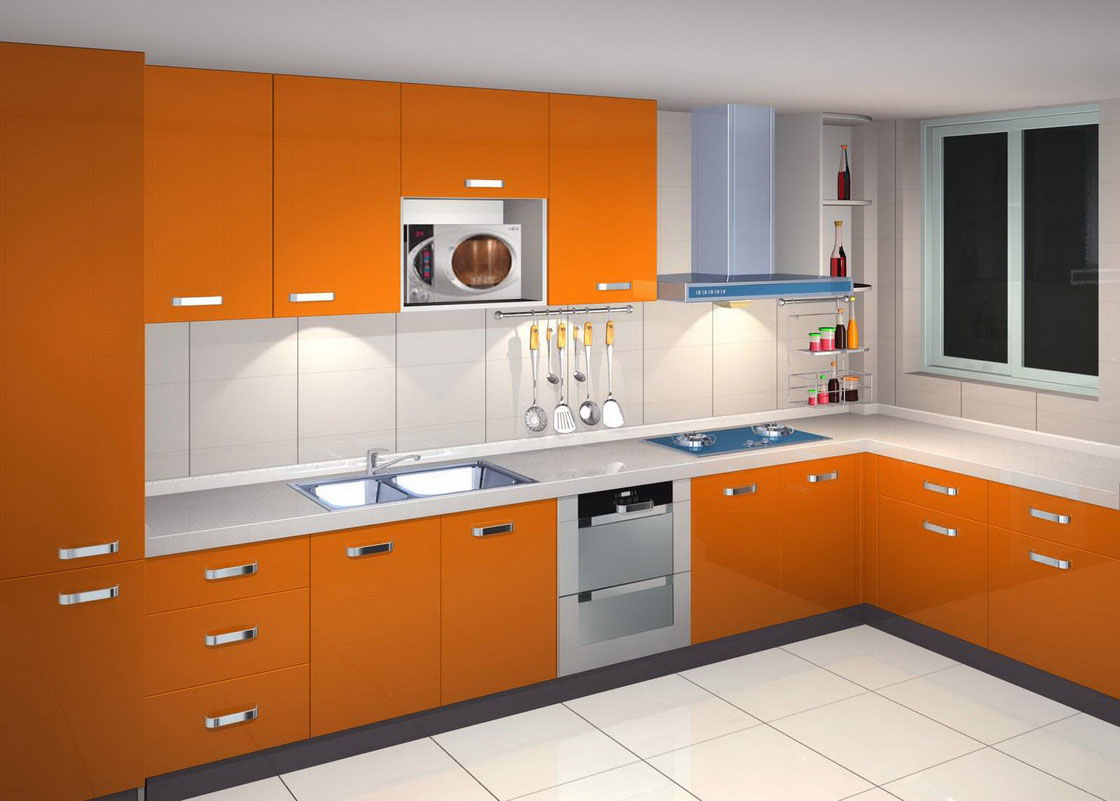 minimalist laminate kitchen cupboard in orange colour