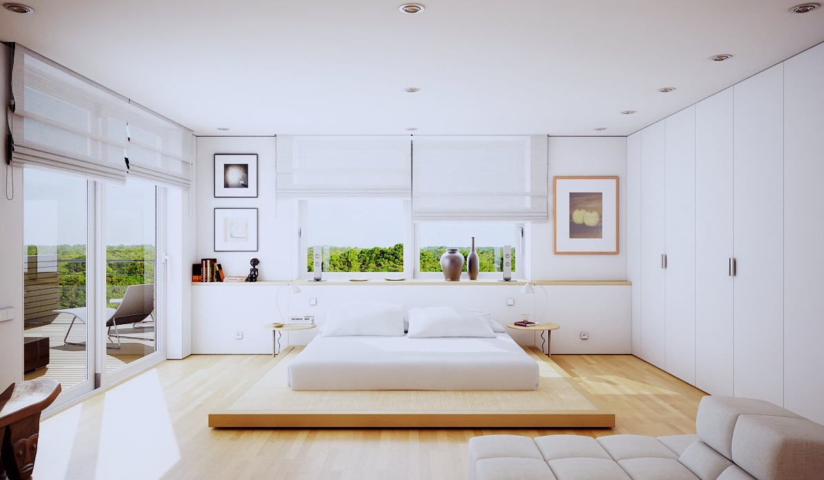 Modern white contemporary bedroom ideas with fitted bedroom cabinets with storage all white