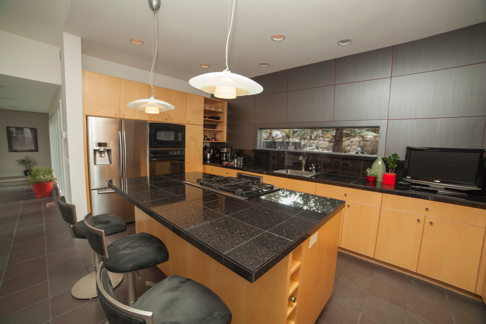 VIEW IN GALLERY Black Granite Tile Kitchen Countertops