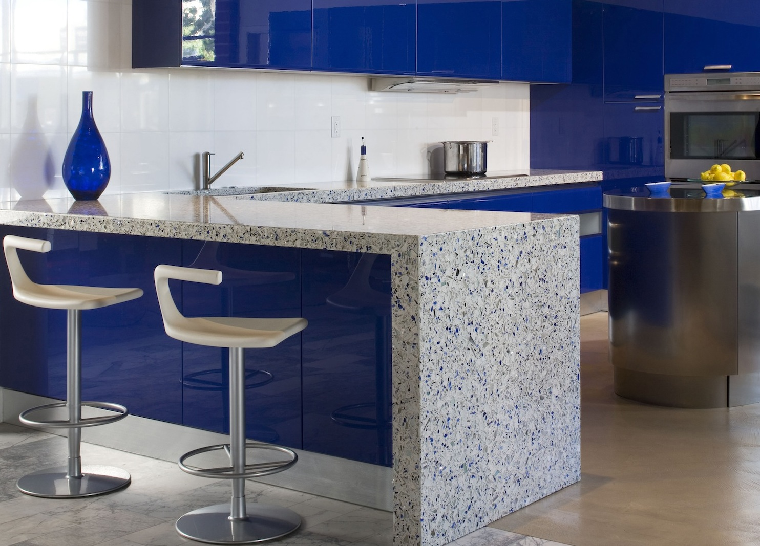 7 most popular types of kitchen countertops materials for Blue countertops kitchen ideas