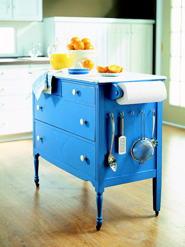 blue kitchen island diy from dresser
