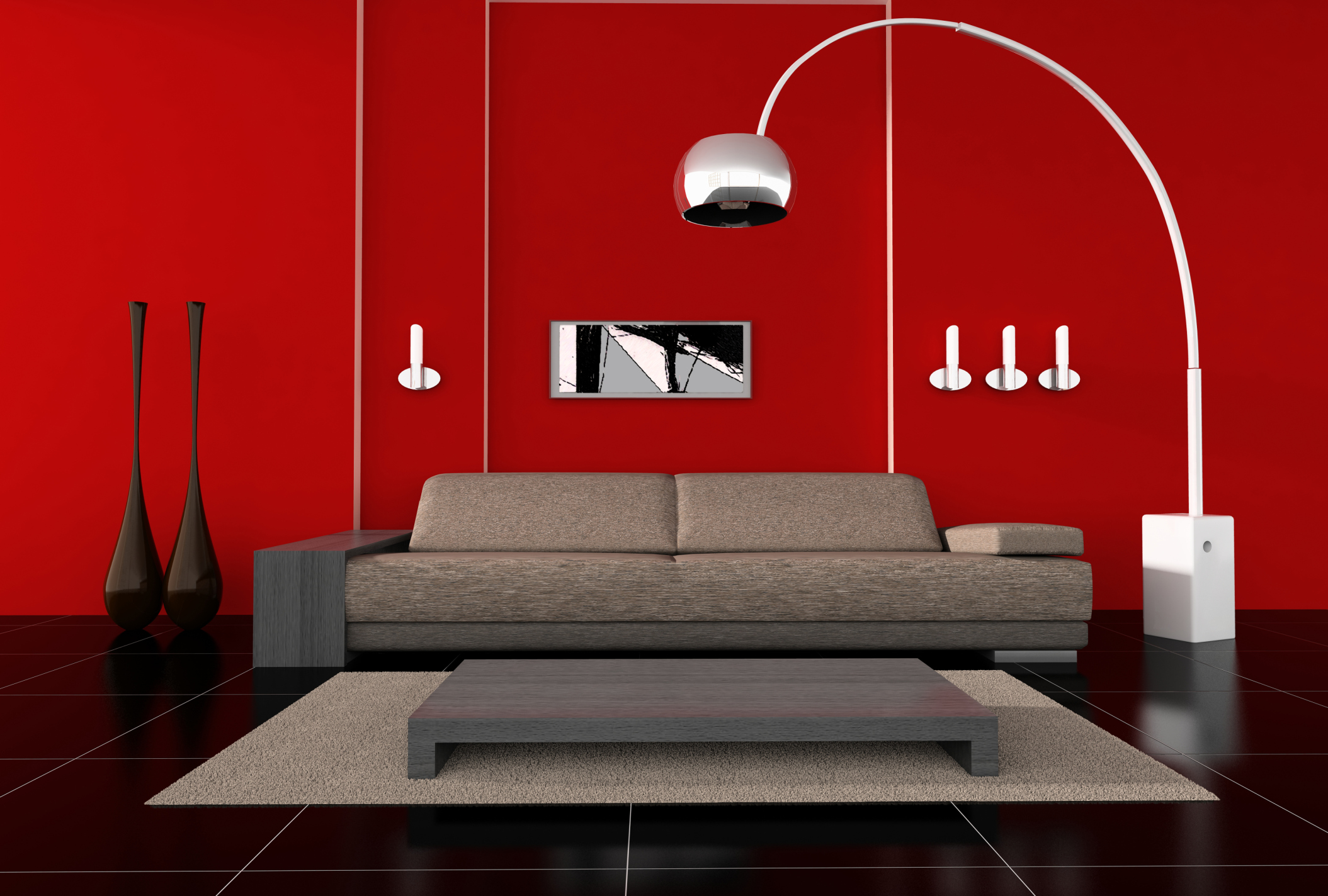 VIEW IN GALLERY Modern Living Room Floor Lamps Ideas With Red Theme