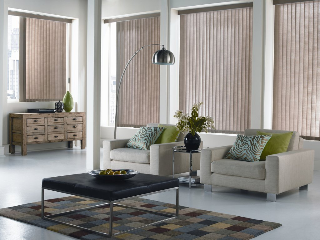 Vertical blinds ideas for window treatment pictures and for Living room blinds