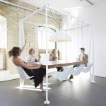 Swinging desk