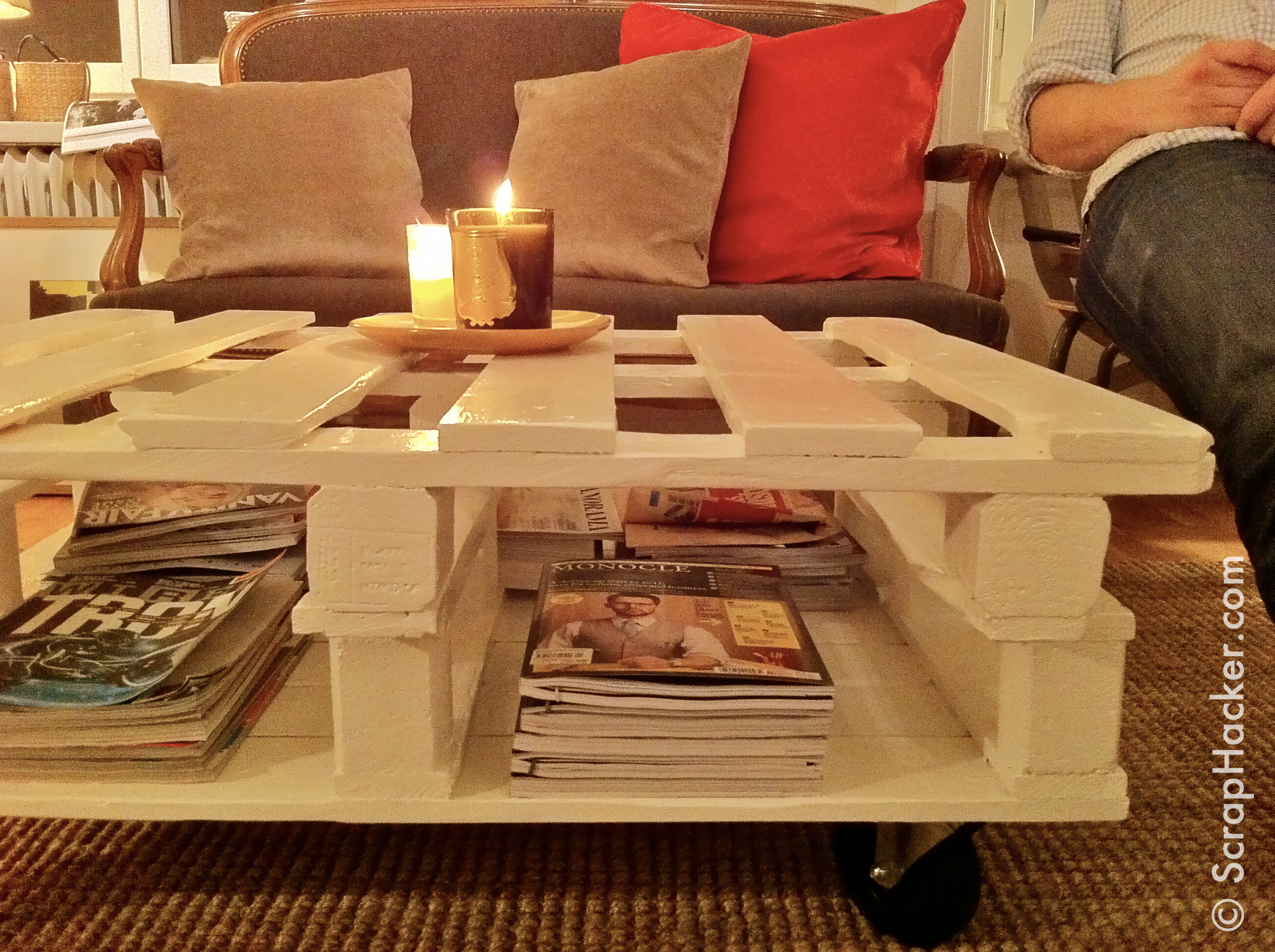Diy white pallet coffee table square