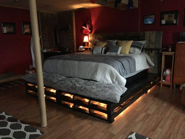 Awesome Beds Made From Pallets With Light And Nice Finishing Ideas