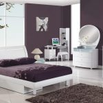 Contemporary White Bedroom Furniture with Purple Wall Paint