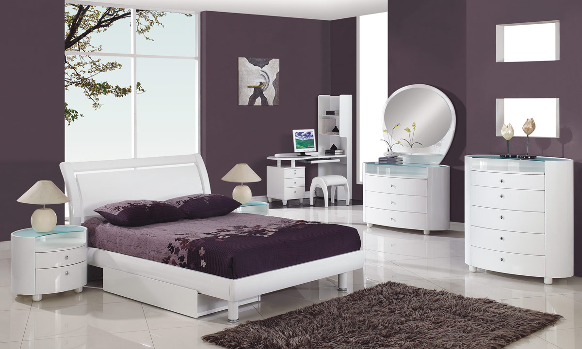 VIEW IN GALLERY Contemporary White Bedroom Furniture With Purple Wall Paint