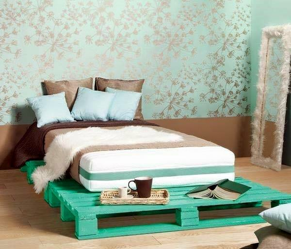 Creative Wood Pallet Bed Frame Ideas Painted In Green