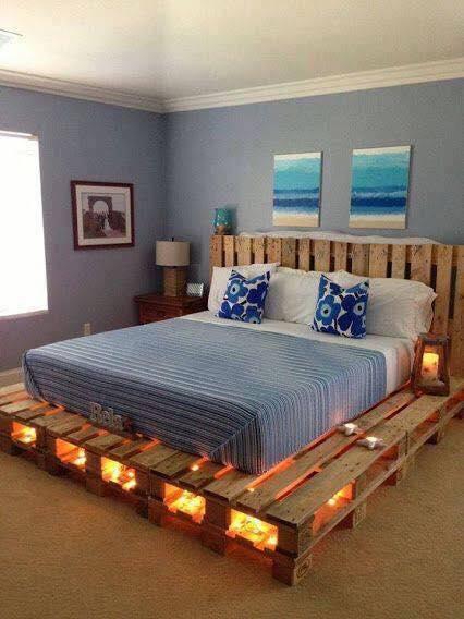 DIY Pallet Bed Frame With Light Underneath Best Pallet Ideas