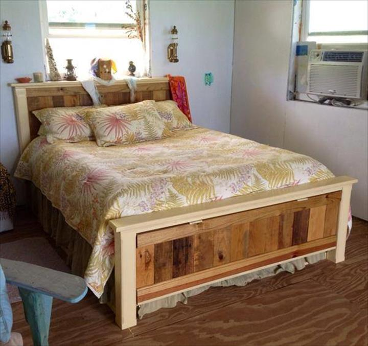 Diy Pallet Bed Frame And Headboard With Cool Bedding