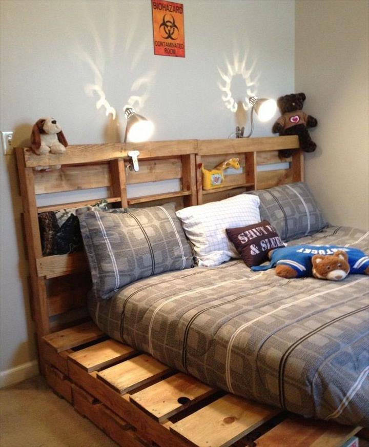 Diy pallet headboard with shelves