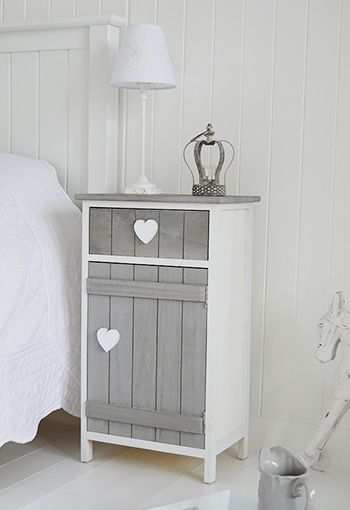 Grey and white heart cottage bedside table with cupboard