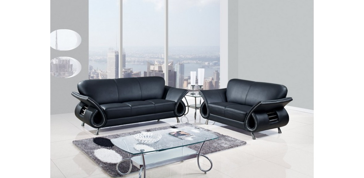 Contemporary black leather sofa set 1 contemporary black for Contemporary sofa set