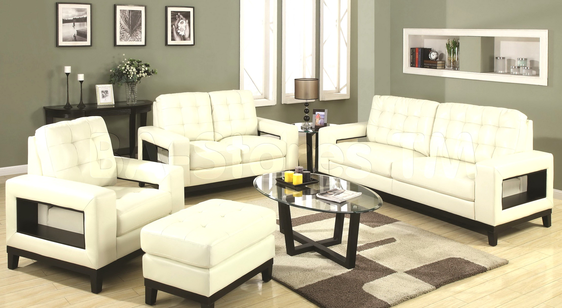 White living room furniture sets roselawnlutheran for Modern living room sofa