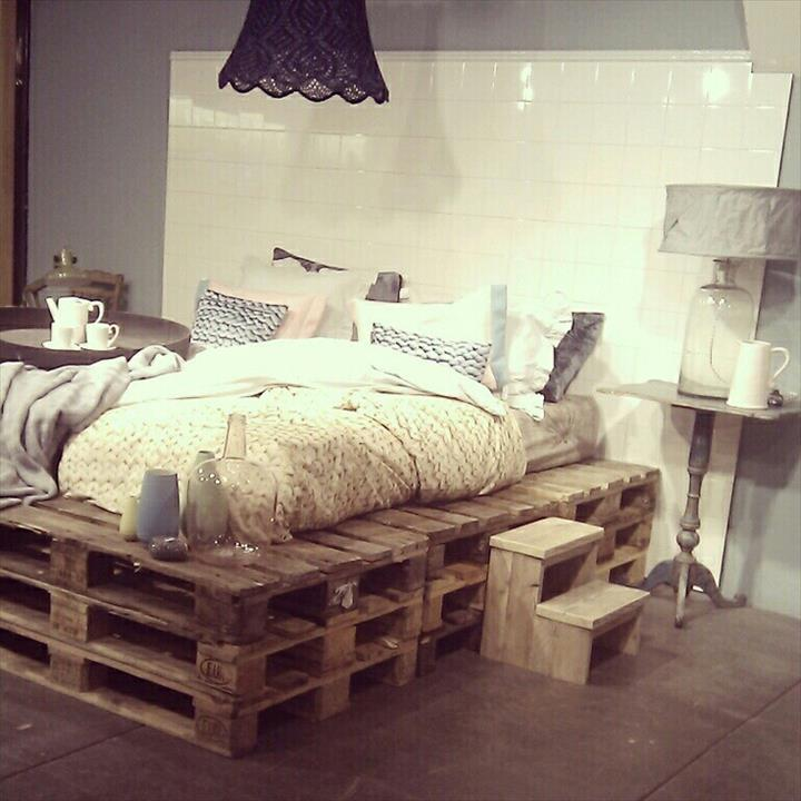 Pallet Bed Frame Ideas With Storage And Side Tables
