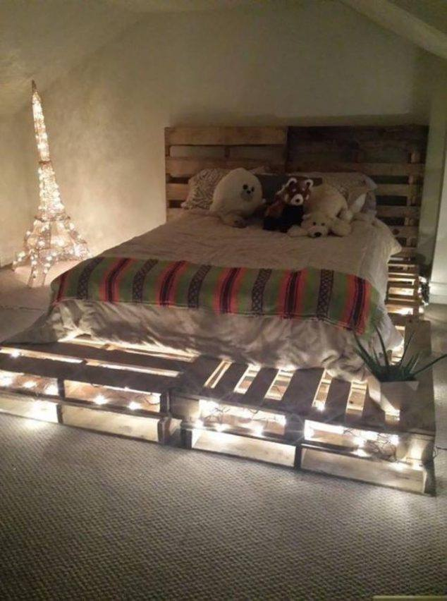 33 Cool DIY Recycled Pallet Bed Frame To Duplicate - DIY Bedroom ...