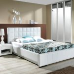 White Wood Bedroom Furniture Idea With Upholstered Bed And Chest Of Drawers With Good Room Arrangement HGNV.COM