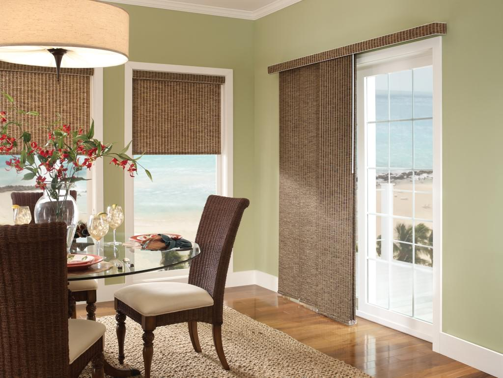 Brown vertical blinds cool window treatments for sliding doors