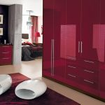 Burgundy high gloss doors with dark walnut frame