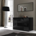 Modern High Gloss Black Bedroom Furniture Living Room Black Dresser
