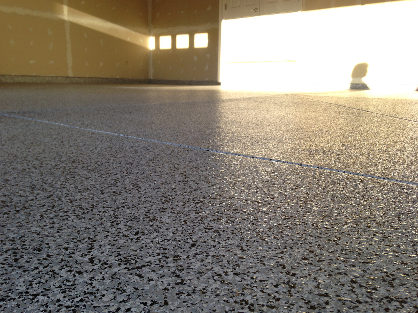 view in gallery installed epoxy garage floor coating